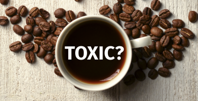 mug of coffee with the word TOXIC