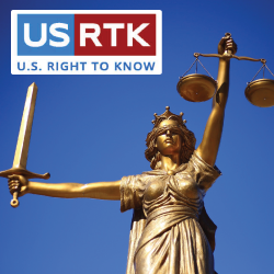 statue of lady justice with the USRight to Know logo