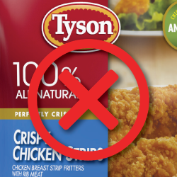 Tyson product with a red x over it