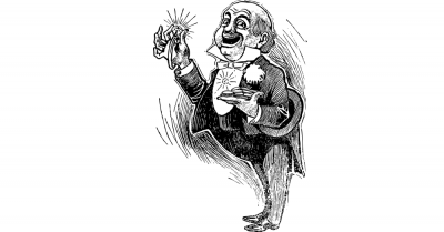 Cartoon caricature of a large man in a suit with a handful of coins and a large gem