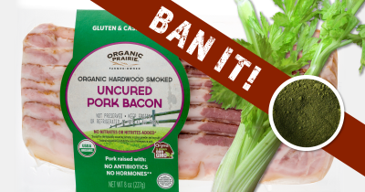 package of uncured bacon with celery and green celery powder and the word BAN in a large red banner