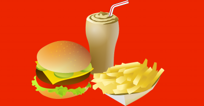clipart of fast food cheeseburger shake and fries