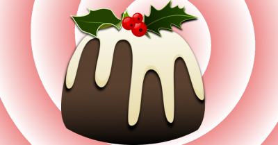 clipart of a Christmas holiday pudding dessert with holly