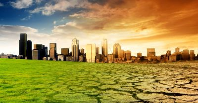 Visual portrayal of climate change on a city landscape
