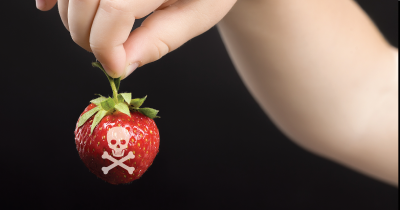 A strawberry with a skull and cross-bones on it being help by a child.