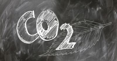 co2 written on blackboard