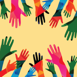 Colorful hand silhouettes reaching onto yellow background