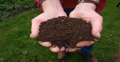 farmer holding a fresh handful of composted soil