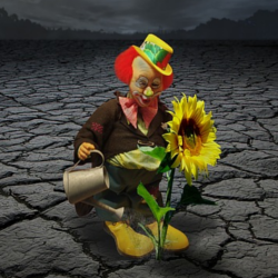 Colorful clown watering a flower with a black and white background