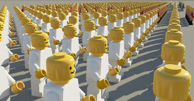 crowd of lego toy people uniformly lined up