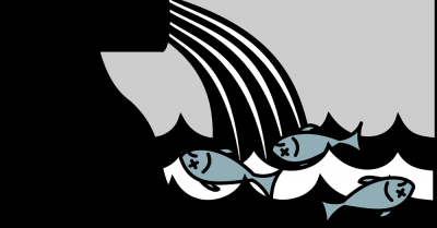 clipart illustrating dead fish near a pollution dump site