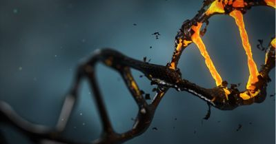 double helix of genes and chromosomes glowing and flaking away