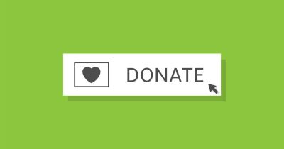 white DONATE button on a green background with computer cursor
