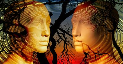 Two generic heads facing each other over silhouettes of trees at sunset