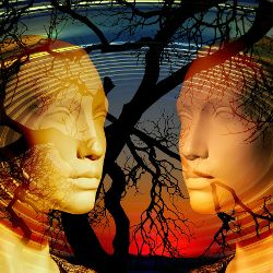 Two heads facing each other in front of a tree and sunset
