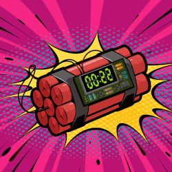 comic clipart rendering of a time bomb