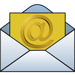 Email envelope and letter with @ symbol