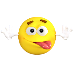 Silly emoticon blowing a raspberry