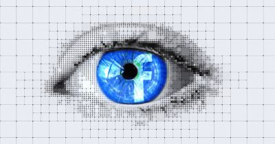 digital rendering of an eye with the blue Facebook logo in the iris