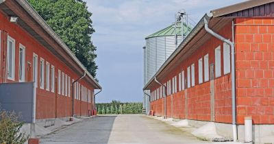 brick buildings on a factory farm near a silver silo