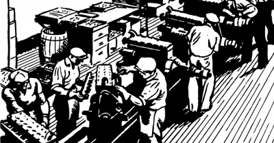 Drawing of factory workers in the early days
