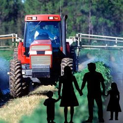 silhouette of a family on a farm crop field where a tractor is spraying pesticides and herbicides