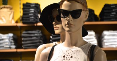 Mannequins dressed in high fashion at a clothing store