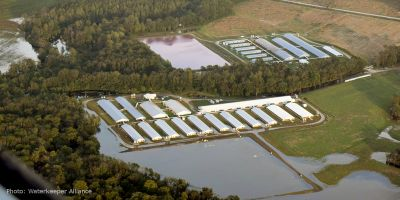 Image by Waterkeeper Alliance of factory farm manure lagoon and cafo during Hurricane Florence