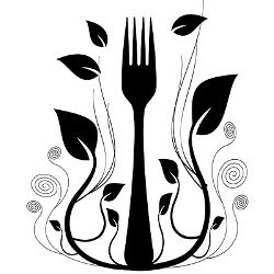black and white logo seal of a fork surrounded by growing vines and plants