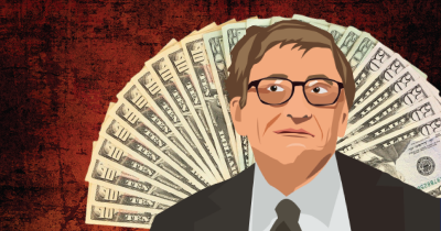 illustration of Bill Gates surrounded by cash and dollar bills