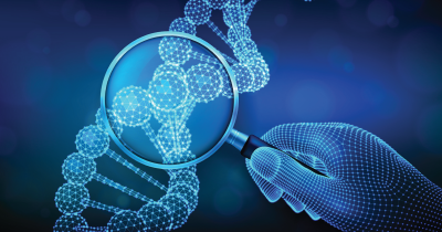 A genetic sequence being looked at with a magnifying glass
