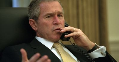 President George W Bush on the telephone from the National Archive