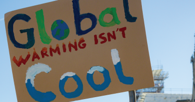 Global warming protest sign.