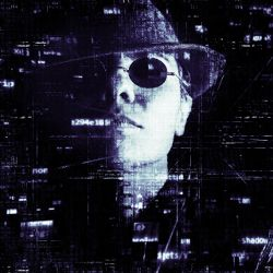 person in hat and sunglasses over cyber code
