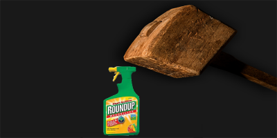 green bottle of Monsantos Roundup about to be hit by a wooden mallet hammer