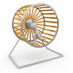 clipart person running on a giant hamster wheel