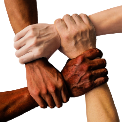 hands holding each other united in a circle