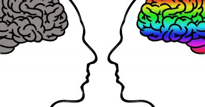 dual head with a rainbow colored brain and a gray brain
