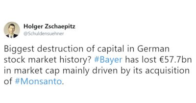 tweet from Holger Zschaepitz regarding Bayers drop in stock after judge upholds jurys decision in Monsanto cancer trial