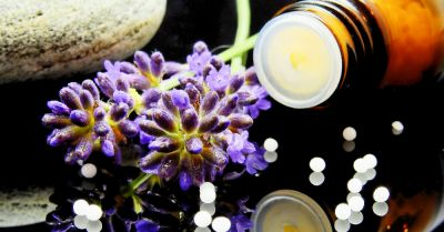 homeopathic remedy with lavender flowers