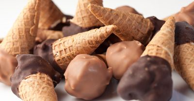 miniature scattered chocolate ice cream waffle cones