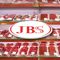 JBS Foods USA logo over packages of raw beef