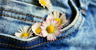 Jeans with flowers in the back pocket