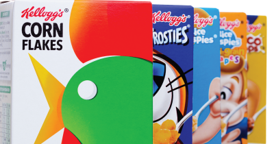 A row of Kellogg's cereal boxes.