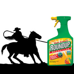 Cowboy silhouette with a lasso rounding up Roundup