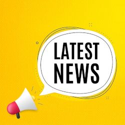 Megaphone icon with Latest News in speech bubble on yellow background