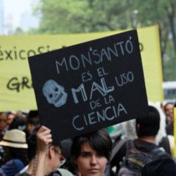 woman in a protest against Monsanto in Mexico holding a sign that says MONSANTO IS A POOR USE OF SCIENCE
