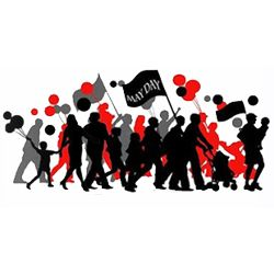 silhouettes of marching protesters in black grey and red