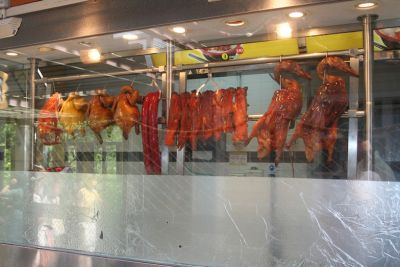 hanging meat carcasses