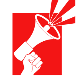 red cartoon fist holding a megaphone